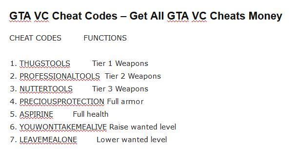GTA VC Cheat Codes - Get All GTA VC Cheats Money